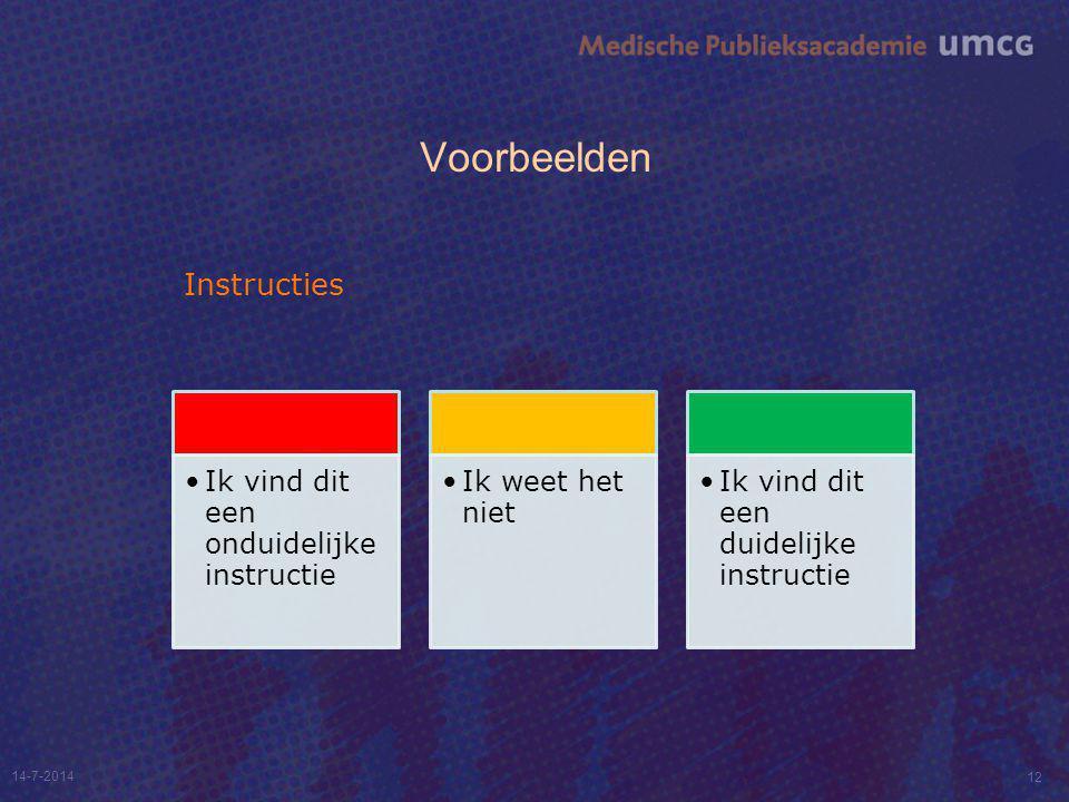 Voorbeelden Instructies 14-7-2014 12 Ik vind dit een onduidelijke instructie Ik weet het niet Ik vind dit een duidelijke instructie