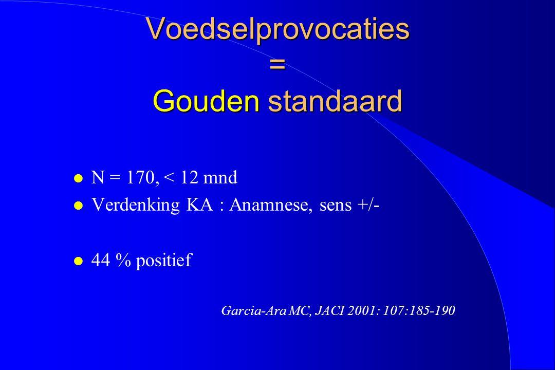 Voedselprovocaties = Gouden standaard l N = 170, < 12 mnd l Verdenking KA : Anamnese, sens +/- l 44 % positief Garcia-Ara MC, JACI 2001: 107:185-190