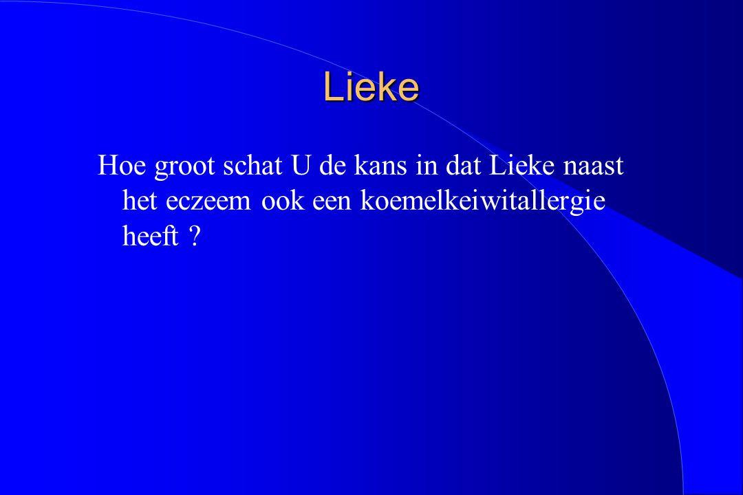 Lieke Hoe groot schat U de kans in dat Lieke naast het eczeem ook een koemelkeiwitallergie heeft ?