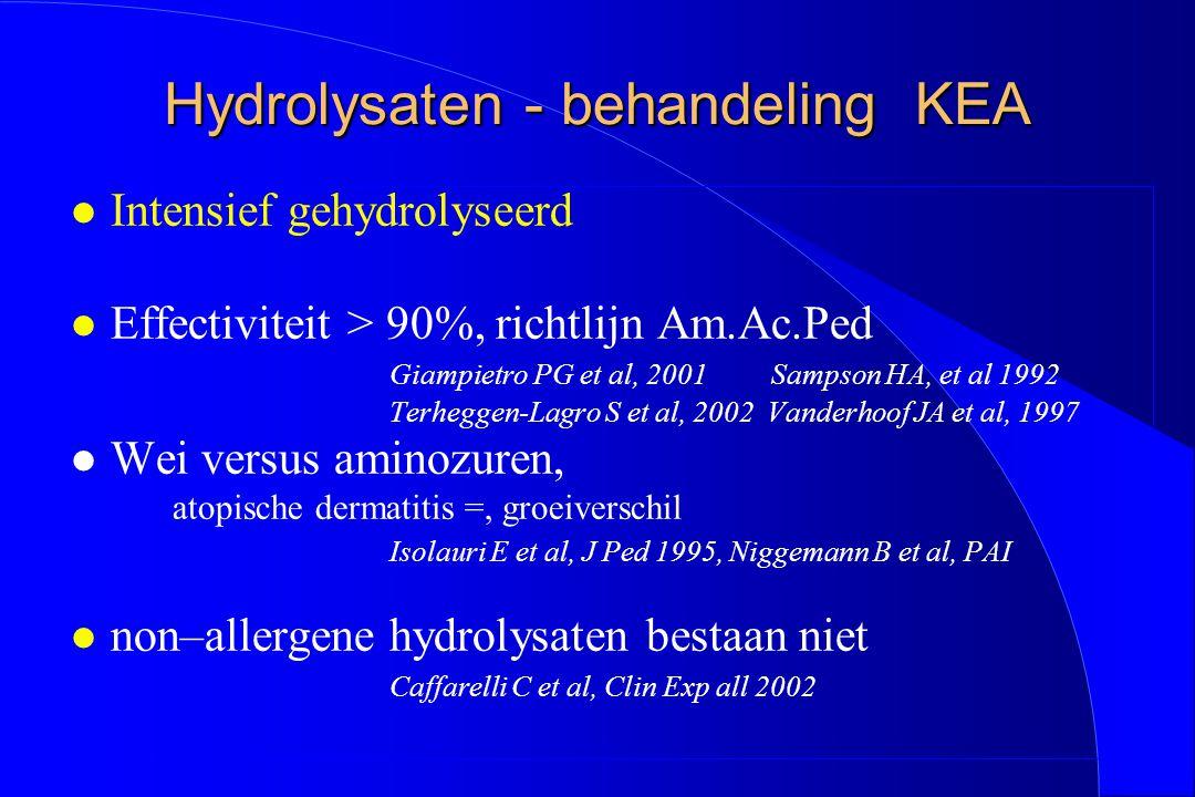 Hydrolysaten - behandeling KEA l Intensief gehydrolyseerd l Effectiviteit > 90%, richtlijn Am.Ac.Ped Giampietro PG et al, 2001 Sampson HA, et al 1992