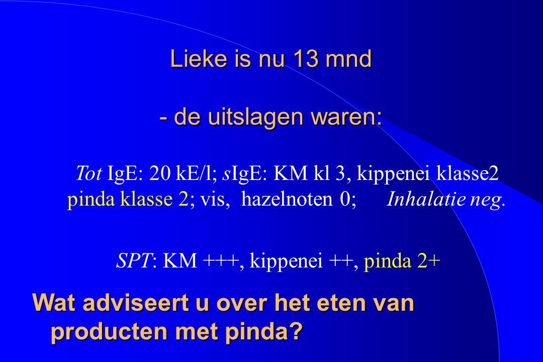 Lieke is nu 13 mnd - de uitslagen waren: Tot IgE: 20 kE/l; sIgE: KM kl 3, kippenei klasse2 pinda klasse 2; vis, hazelnoten 0; Inhalatie neg. SPT: KM +