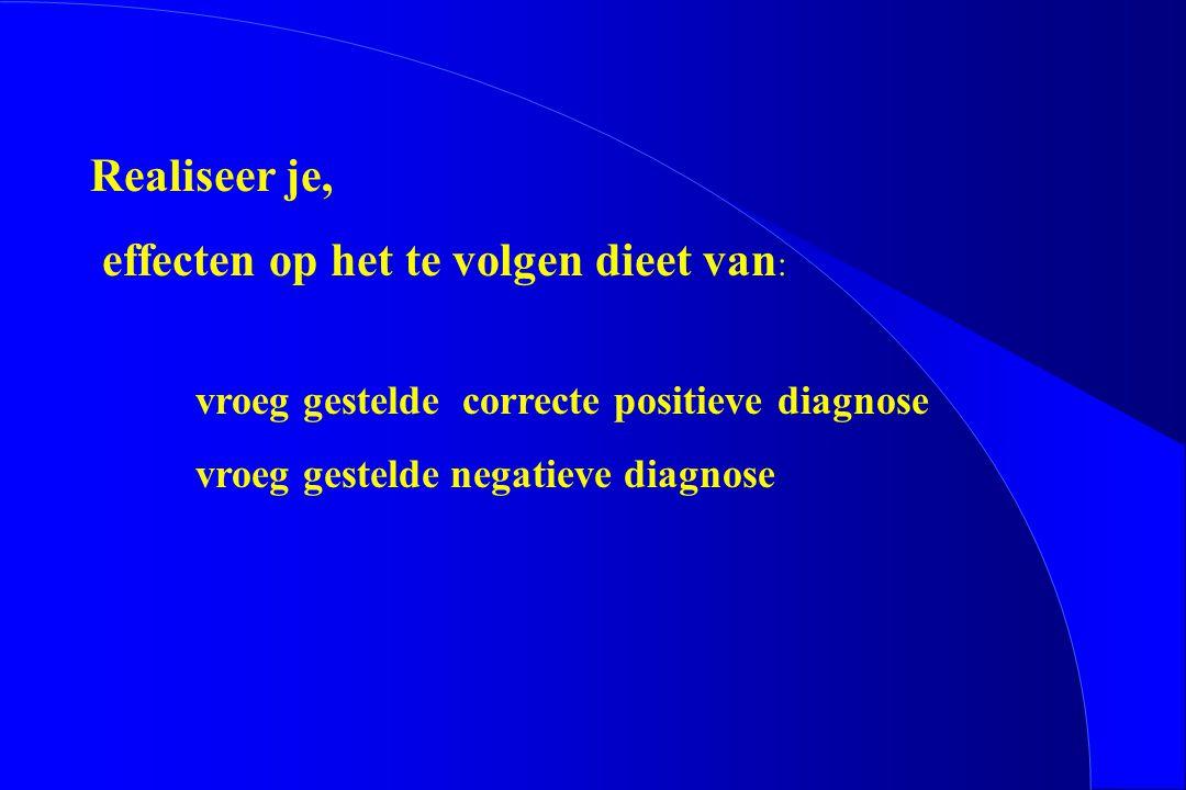 Realiseer je, effecten op het te volgen dieet van : vroeg gestelde correcte positieve diagnose vroeg gestelde negatieve diagnose