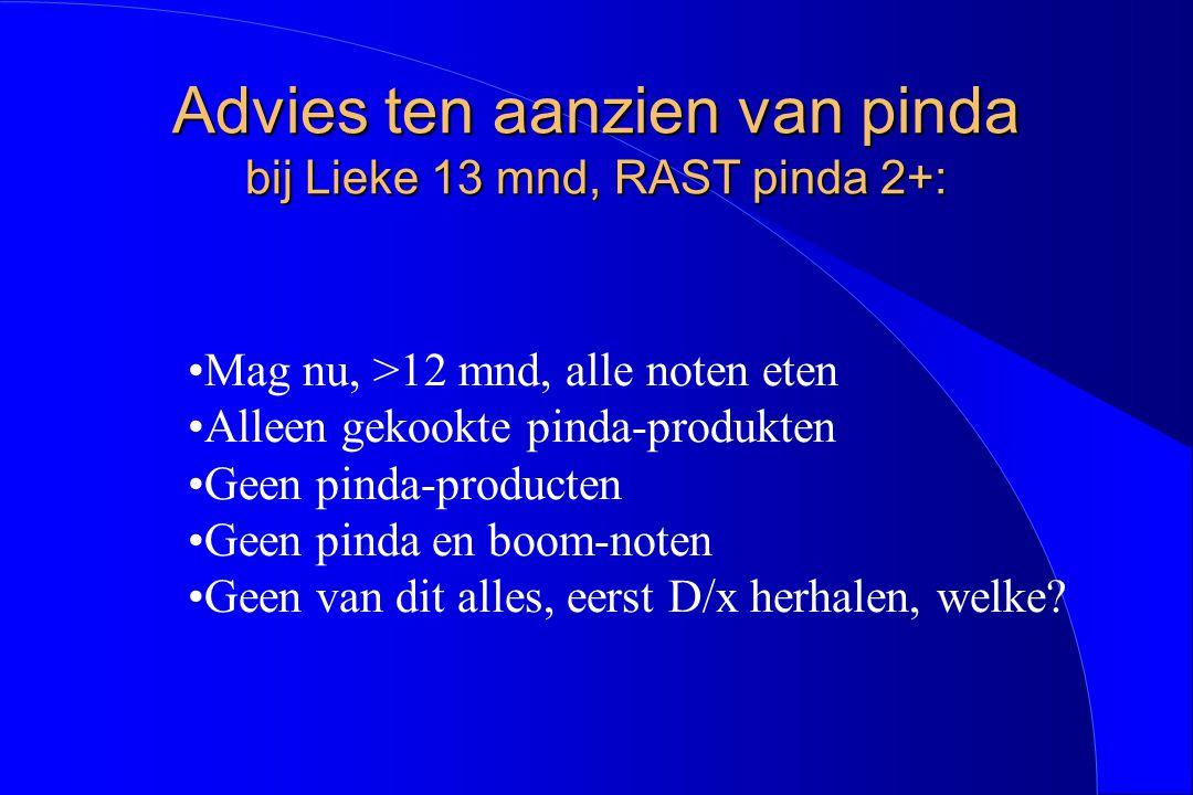 Advies ten aanzien van pinda bij Lieke 13 mnd, RAST pinda 2+: Mag nu, >12 mnd, alle noten eten Alleen gekookte pinda-produkten Geen pinda-producten Ge
