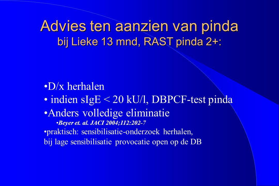 Advies ten aanzien van pinda bij Lieke 13 mnd, RAST pinda 2+: D/x herhalen indien sIgE < 20 kU/l, DBPCF-test pinda Anders volledige eliminatie Beyer e