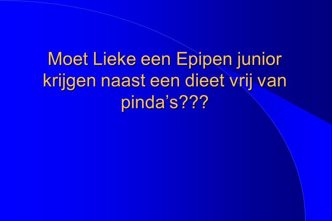 Moet Lieke een Epipen junior krijgen naast een dieet vrij van pinda's???
