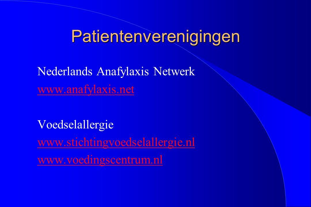 Patientenverenigingen Nederlands Anafylaxis Netwerk www.anafylaxis.net Voedselallergie www.stichtingvoedselallergie.nl www.voedingscentrum.nl