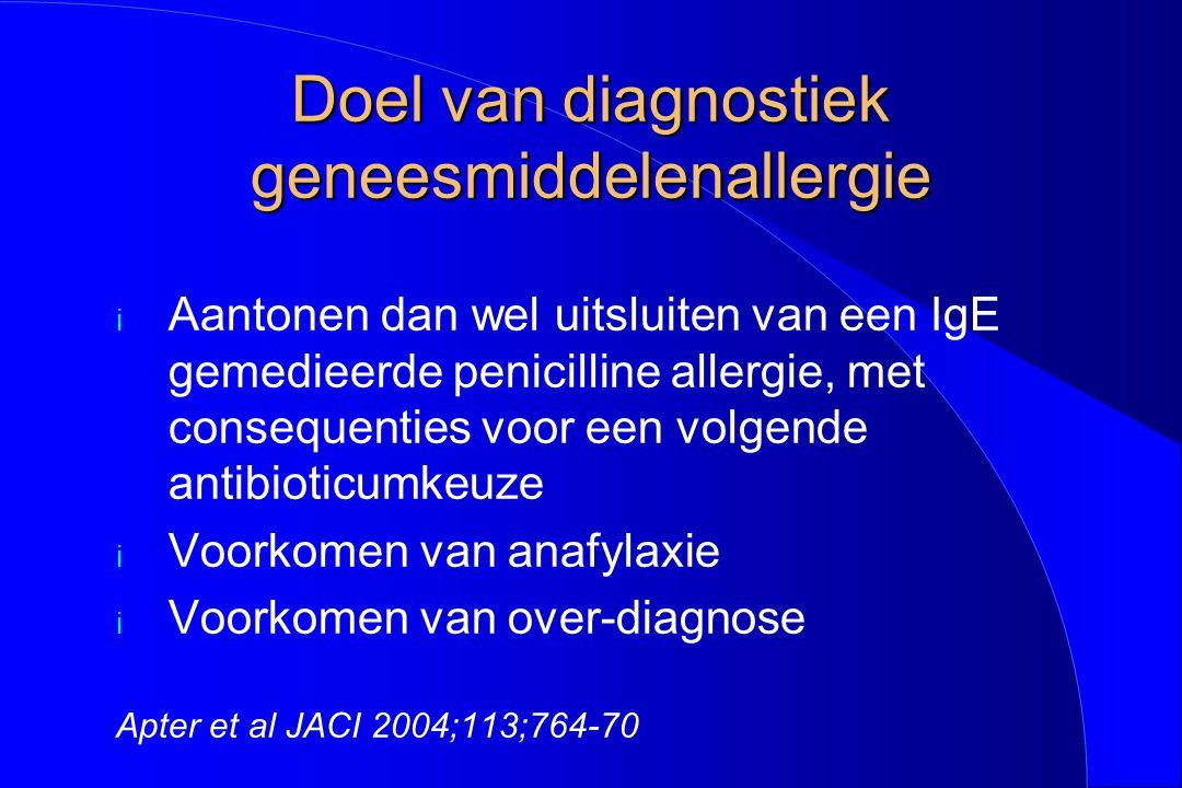 Doel van diagnostiek geneesmiddelenallergie i Aantonen dan wel uitsluiten van een IgE gemedieerde penicilline allergie, met consequenties voor een vol