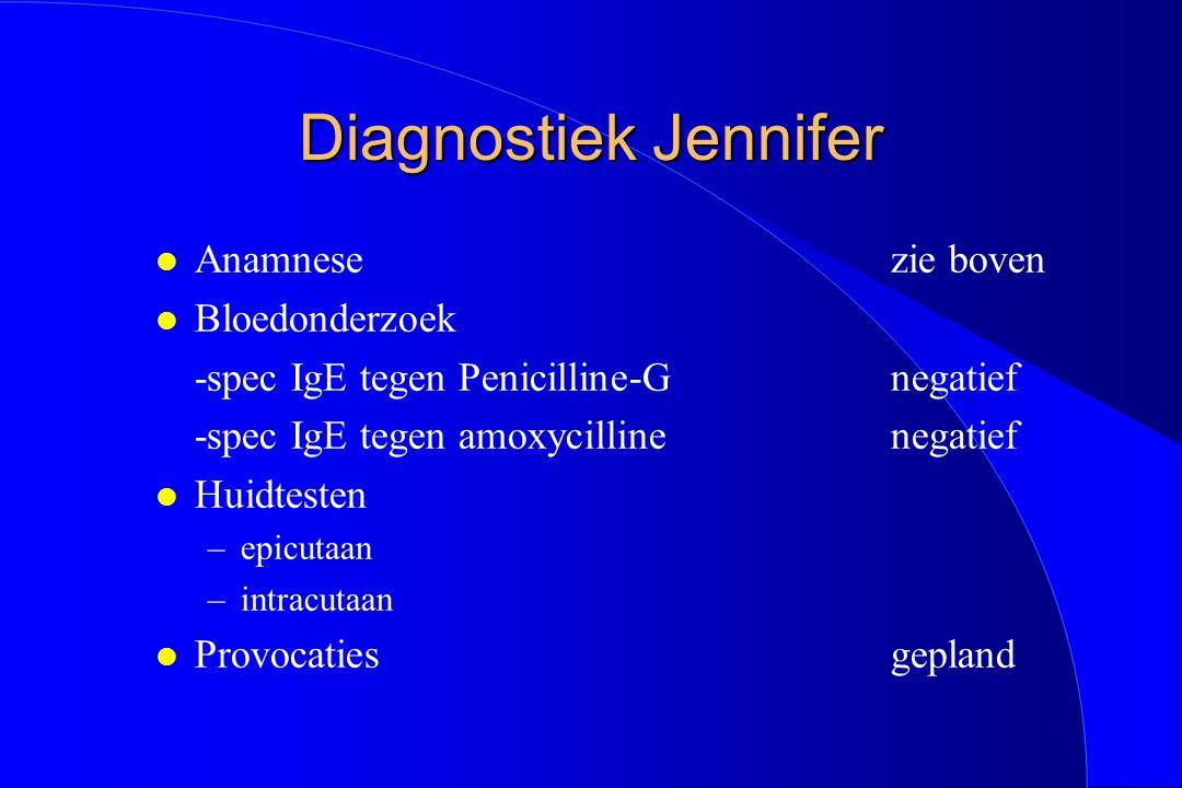 Diagnostiek Jennifer l Anamnesezie boven l Bloedonderzoek -spec IgE tegen Penicilline-Gnegatief -spec IgE tegen amoxycillinenegatief l Huidtesten –epi