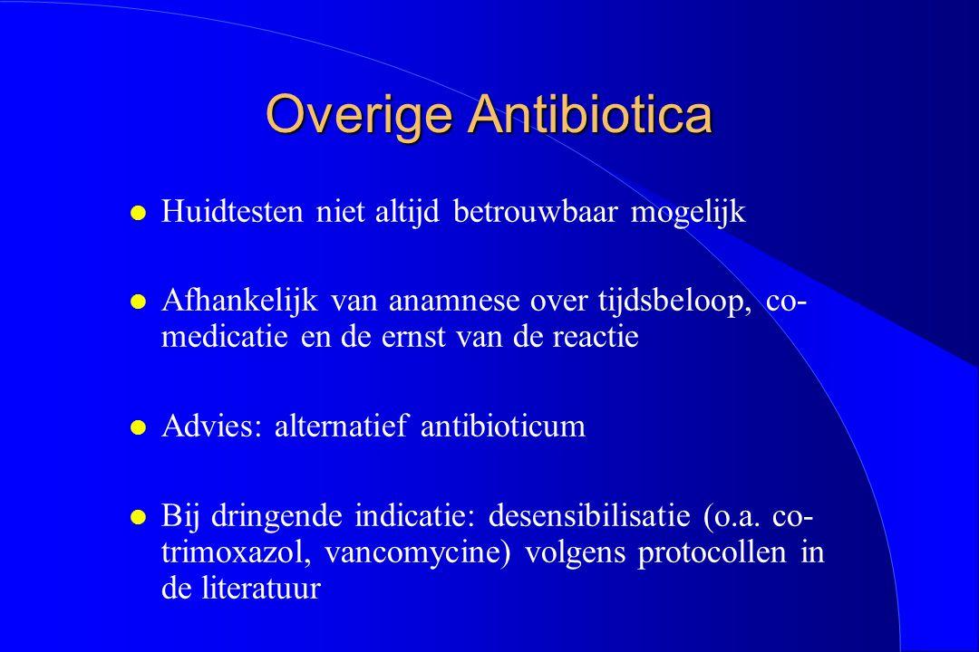 Overige Antibiotica l Huidtesten niet altijd betrouwbaar mogelijk l Afhankelijk van anamnese over tijdsbeloop, co- medicatie en de ernst van de reacti