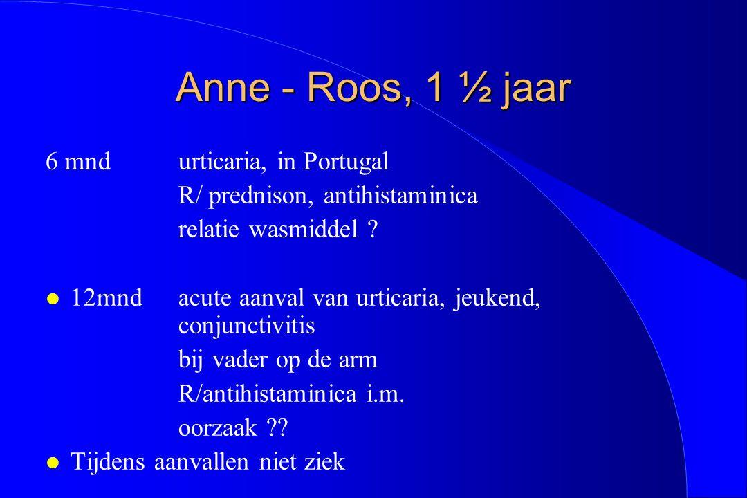 Anne - Roos, 1 ½ jaar 6 mnd urticaria, in Portugal R/ prednison, antihistaminica relatie wasmiddel ? l 12mnd acute aanval van urticaria, jeukend, conj