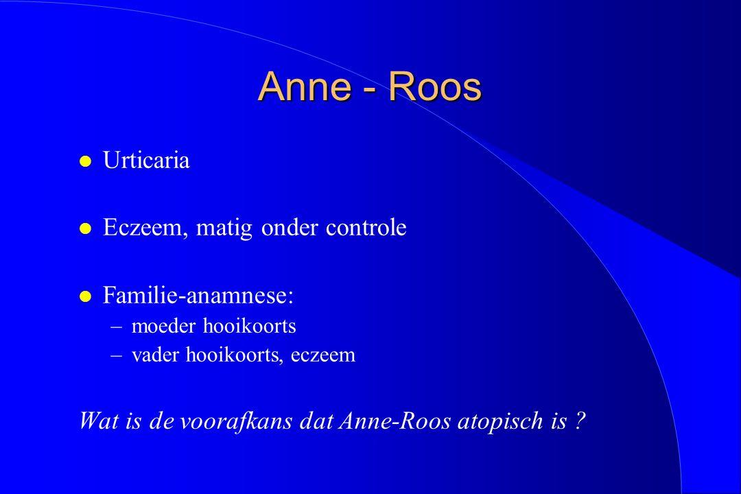 Anne - Roos l Urticaria l Eczeem, matig onder controle l Familie-anamnese: –moeder hooikoorts –vader hooikoorts, eczeem Wat is de voorafkans dat Anne-