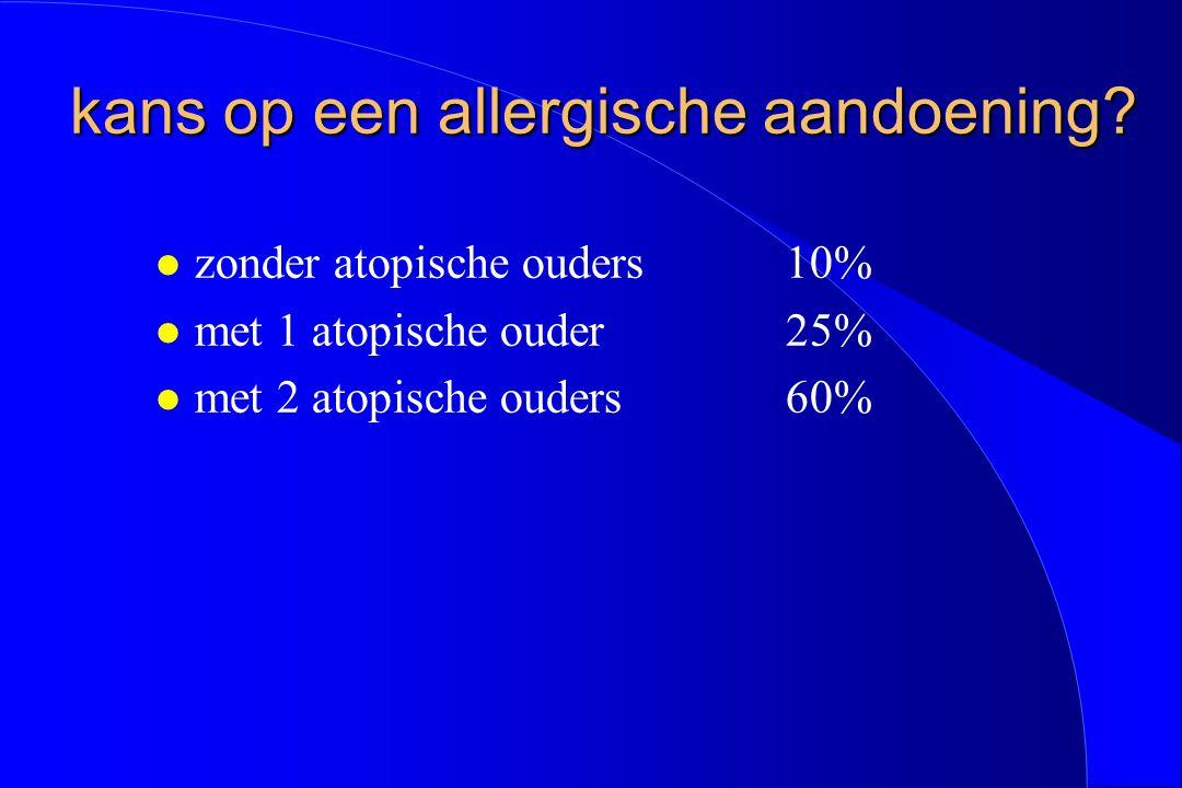 kans op een allergische aandoening? kans op een allergische aandoening? l zonder atopische ouders10% l met 1 atopische ouder25% l met 2 atopische oude
