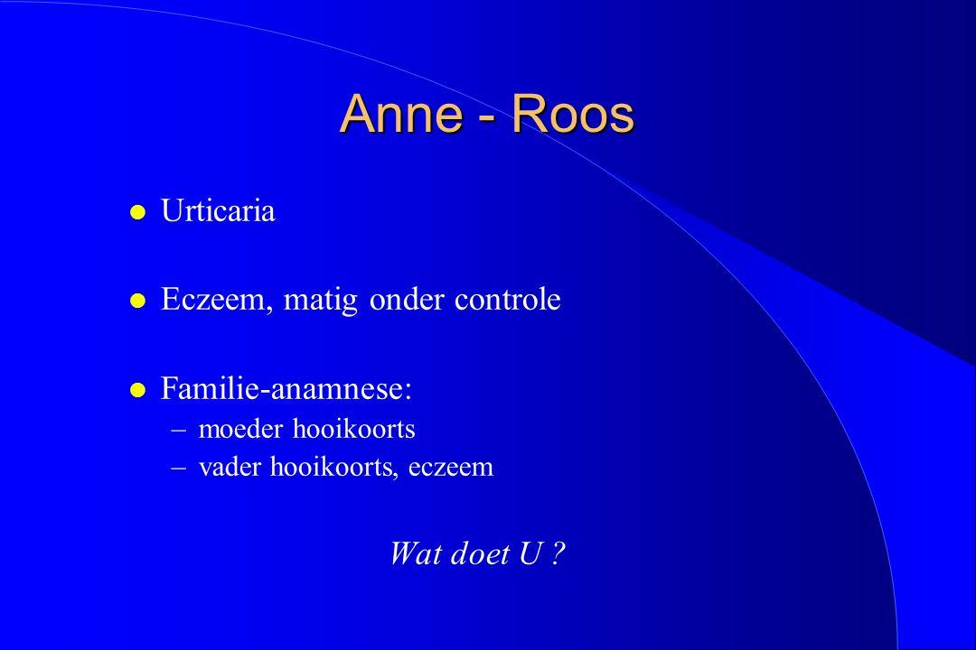 Anne - Roos l Urticaria l Eczeem, matig onder controle l Familie-anamnese: –moeder hooikoorts –vader hooikoorts, eczeem Wat doet U ?
