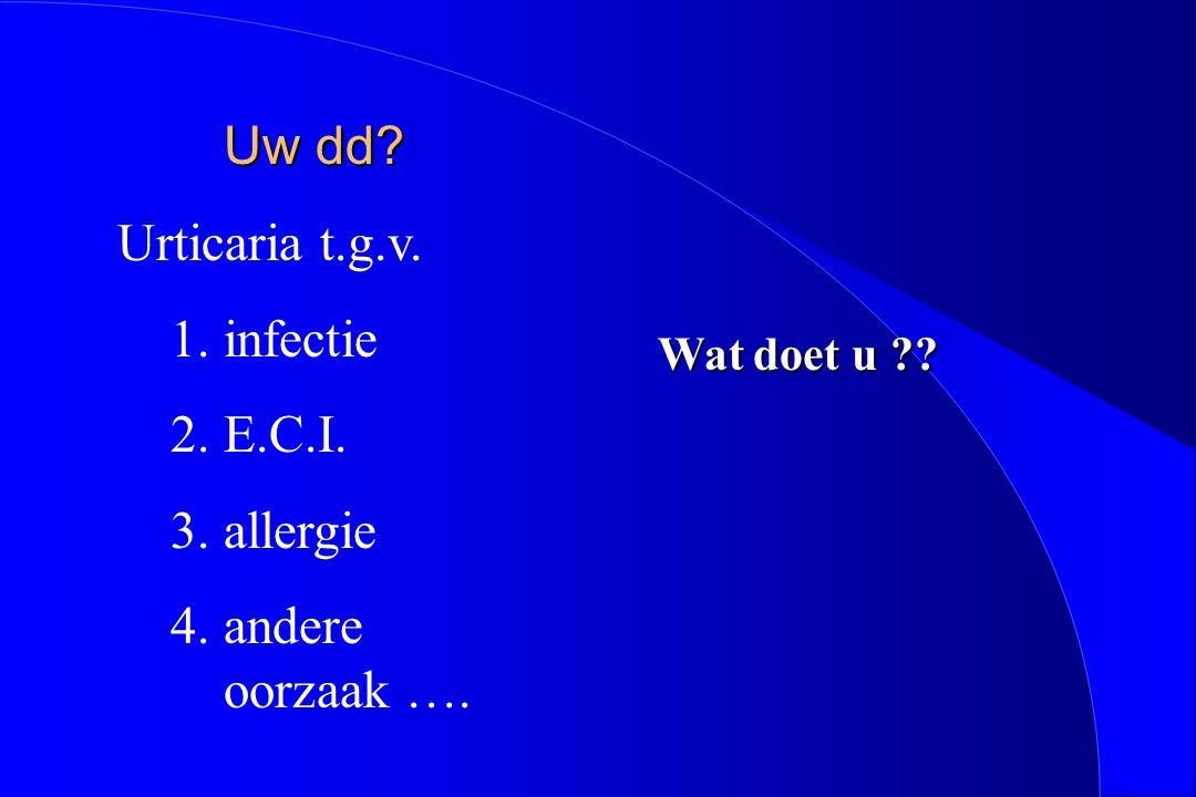 Uw dd? Urticaria t.g.v. 1.infectie 2.E.C.I. 3.allergie 4.andere oorzaak …. Wat doet u ??