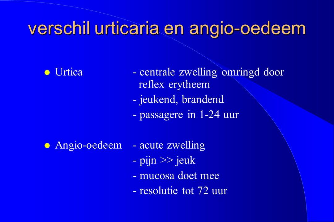 verschil urticaria en angio-oedeem verschil urticaria en angio-oedeem l Urtica- centrale zwelling omringd door reflex erytheem - jeukend, brandend - p