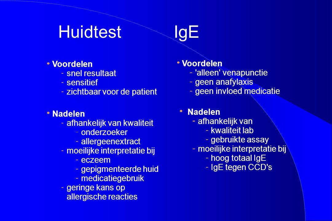 Voordelen snel resultaat sensitief zichtbaar voor de patient Nadelen afhankelijk van kwaliteit onderzoeker allergeenextract moeilijke interpretatie bi