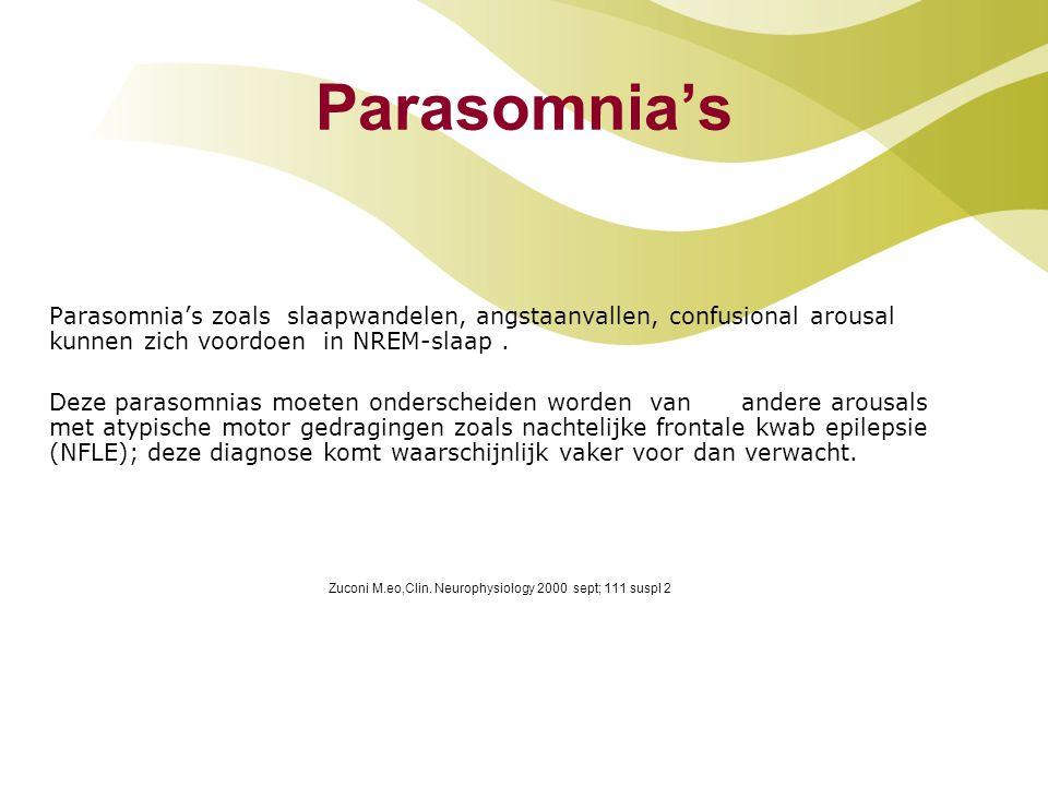 Parasomnia's Parasomnia's zoals slaapwandelen, angstaanvallen, confusional arousal kunnen zich voordoen in NREM-slaap. Deze parasomnias moeten ondersc