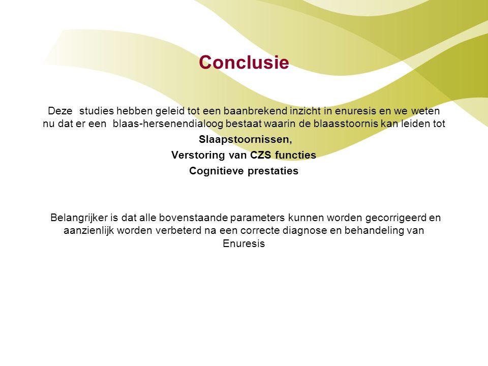 Conclusie Deze studies hebben geleid tot een baanbrekend inzicht in enuresis en we weten nu dat er een blaas-hersenendialoog bestaat waarin de blaasst