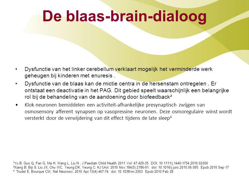 De blaas-brain-dialoog Dysfunctie van het linker cerebellum verklaart mogelijk het verminderde werk geheugen bij kinderen met enuresis. Dysfunctie van