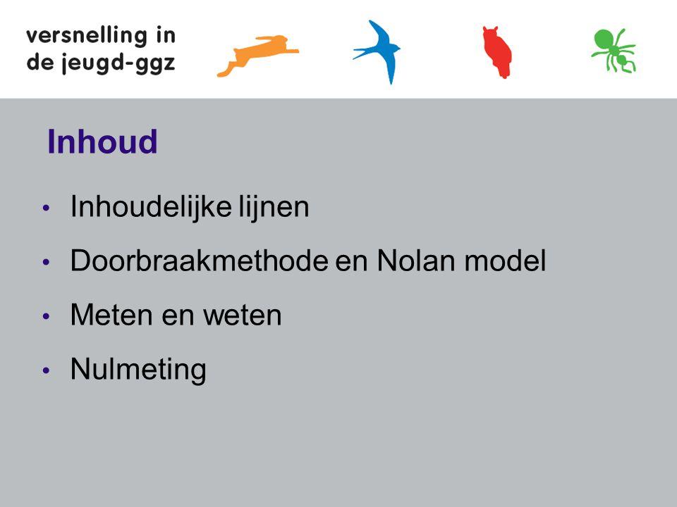 Inhoud Inhoudelijke lijnen Doorbraakmethode en Nolan model Meten en weten Nulmeting
