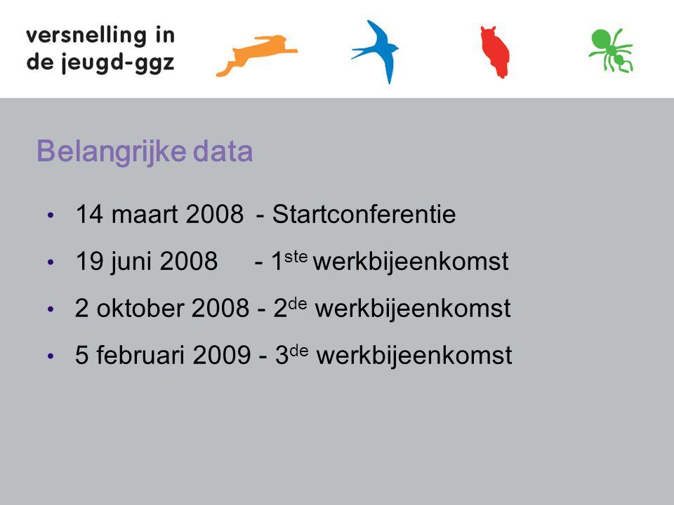 Belangrijke data 14 maart 2008 - Startconferentie 19 juni 2008 - 1 ste werkbijeenkomst 2 oktober 2008 - 2 de werkbijeenkomst 5 februari 2009 - 3 de werkbijeenkomst