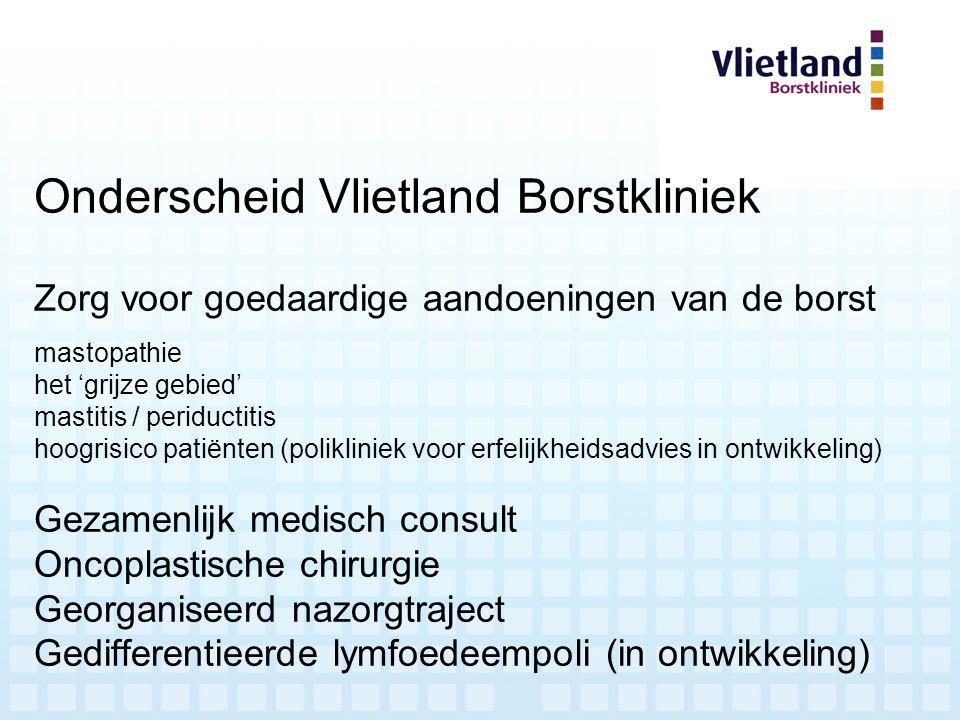 Onderscheid Vlietland Borstkliniek Zorg voor goedaardige aandoeningen van de borst mastopathie het 'grijze gebied' mastitis / periductitis hoogrisico