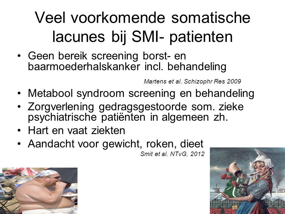 Veel voorkomende somatische lacunes bij SMI- patienten Geen bereik screening borst- en baarmoederhalskanker incl.