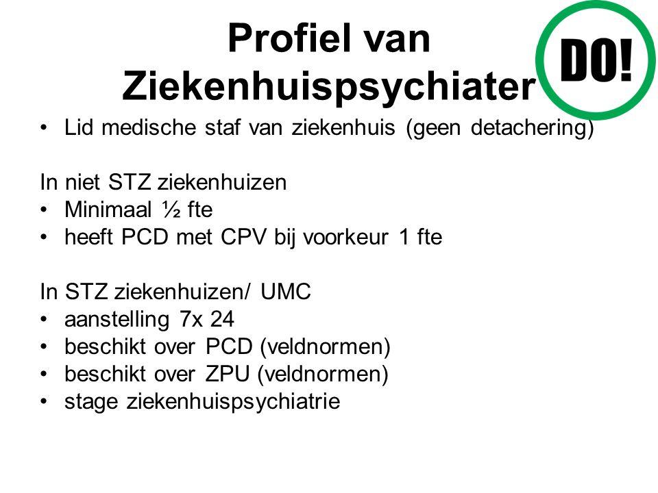 Profiel van Ziekenhuispsychiater Lid medische staf van ziekenhuis (geen detachering) In niet STZ ziekenhuizen Minimaal ½ fte heeft PCD met CPV bij voorkeur 1 fte In STZ ziekenhuizen/ UMC aanstelling 7x 24 beschikt over PCD (veldnormen) beschikt over ZPU (veldnormen) stage ziekenhuispsychiatrie