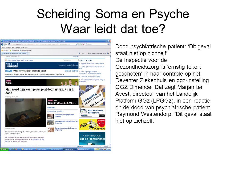 Scheiding Soma en Psyche Waar leidt dat toe.