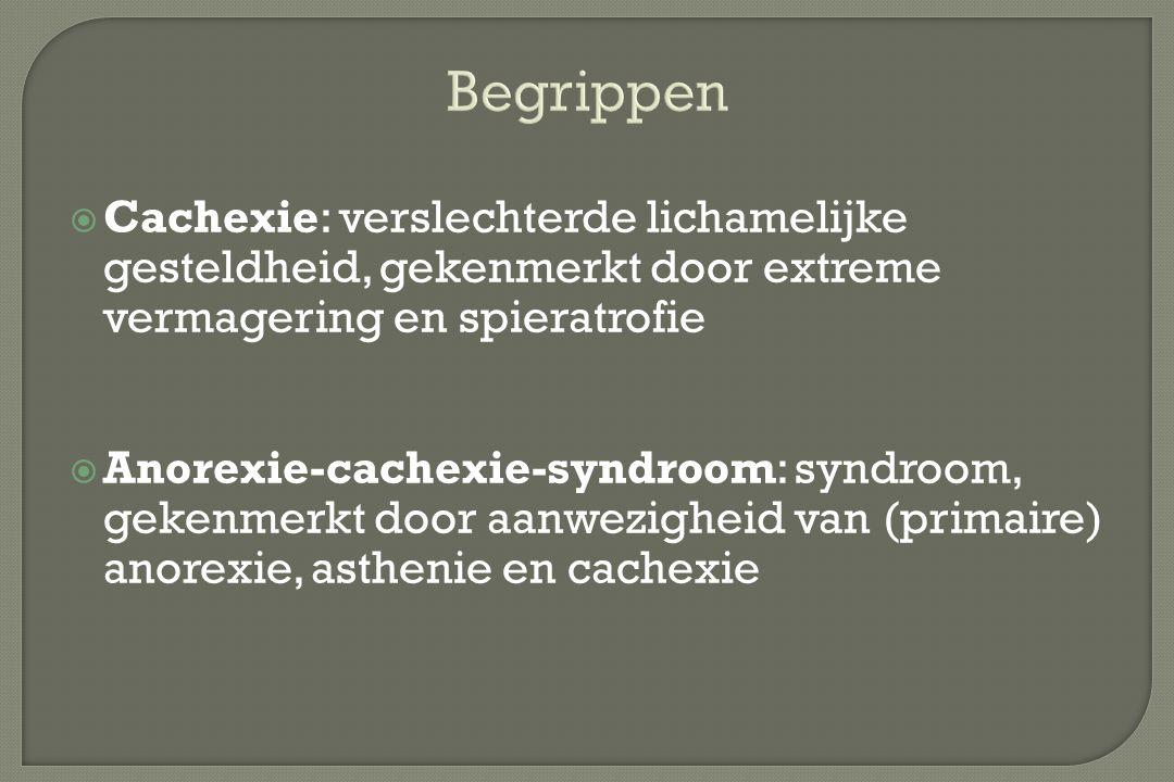  Cachexie: verslechterde lichamelijke gesteldheid, gekenmerkt door extreme vermagering en spieratrofie  Anorexie-cachexie-syndroom: syndroom, gekenm