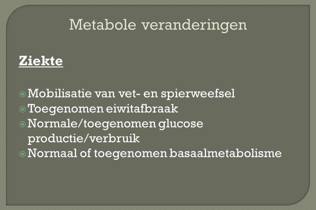 Ziekte  Mobilisatie van vet- en spierweefsel  Toegenomen eiwitafbraak  Normale/toegenomen glucose productie/verbruik  Normaal of toegenomen basaal
