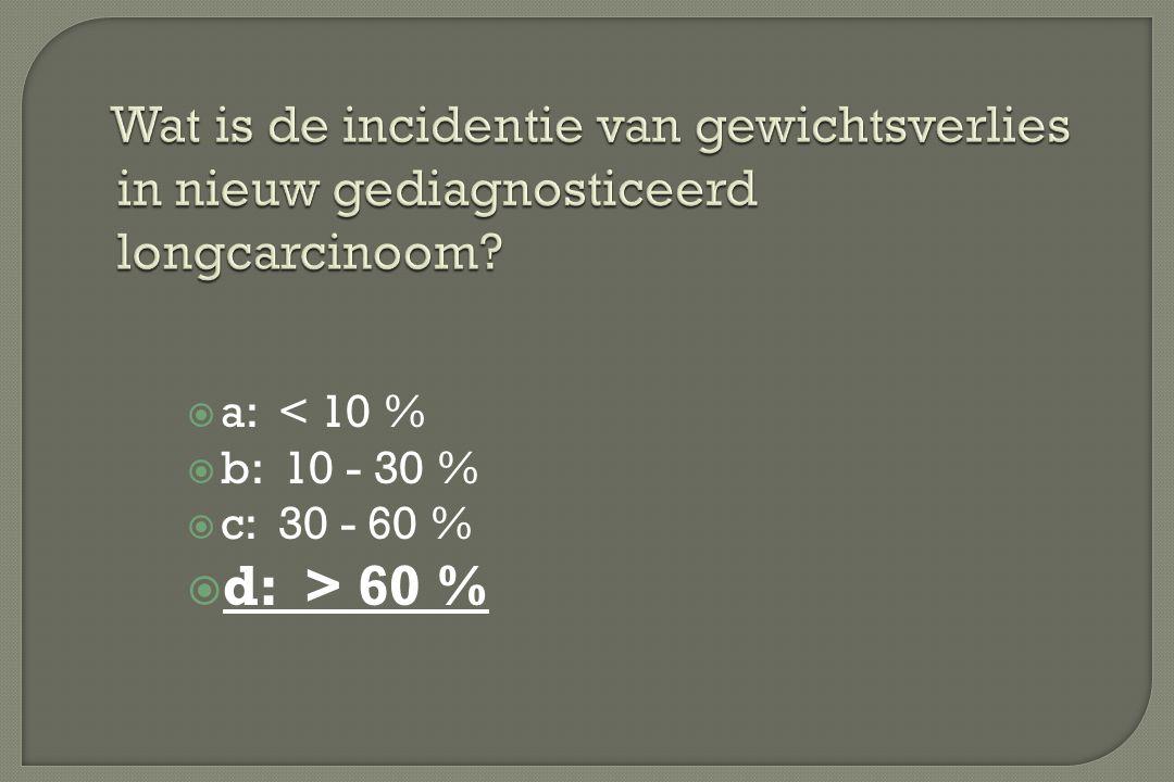  a: < 10 %  b: 10 - 30 %  c: 30 - 60 %  d: > 60 % Wat is de incidentie van gewichtsverlies in nieuw gediagnosticeerd longcarcinoom?