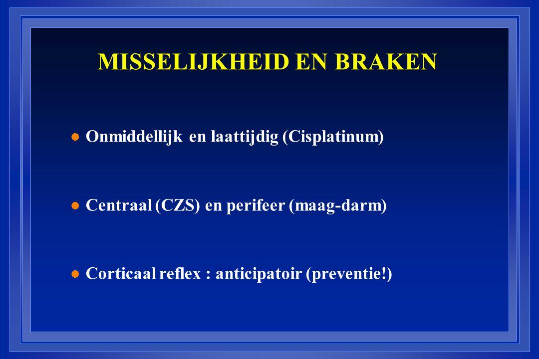 MISSELIJKHEID EN BRAKEN l Onmiddellijk en laattijdig (Cisplatinum) l Centraal (CZS) en perifeer (maag-darm) l Corticaal reflex : anticipatoir (prevent