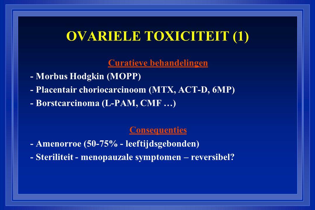 OVARIELE TOXICITEIT (1) Curatieve behandelingen - Morbus Hodgkin (MOPP) - Placentair choriocarcinoom (MTX, ACT-D, 6MP) - Borstcarcinoma (L-PAM, CMF …)