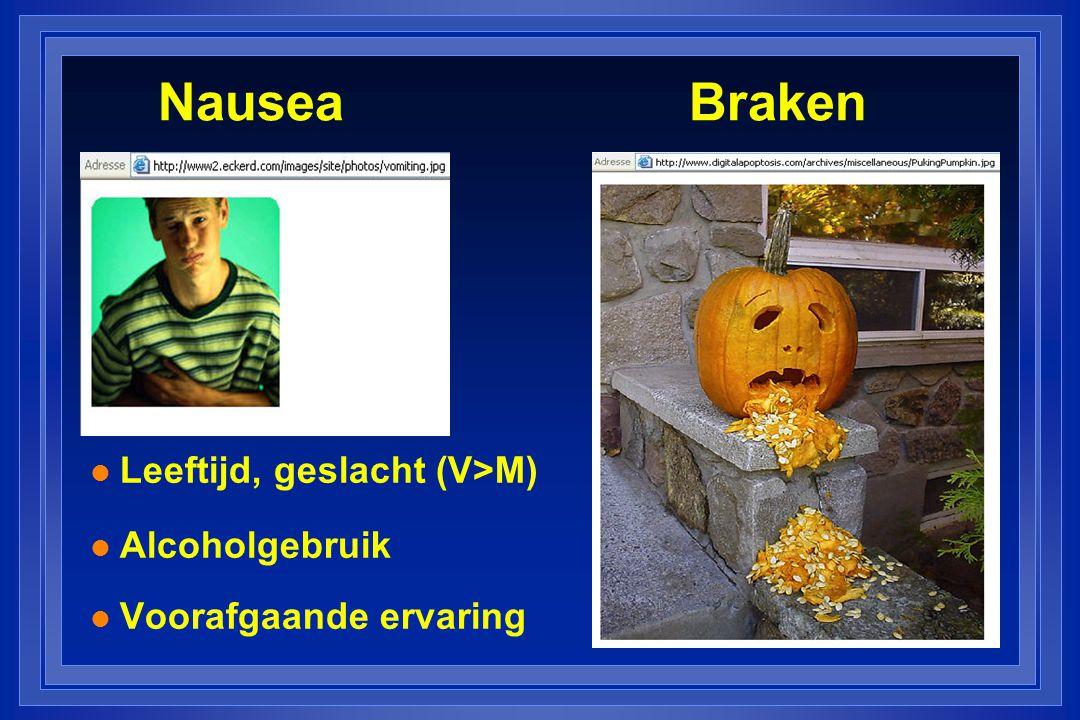 Nausea Braken l Leeftijd, geslacht (V>M) l Alcoholgebruik l Voorafgaande ervaring