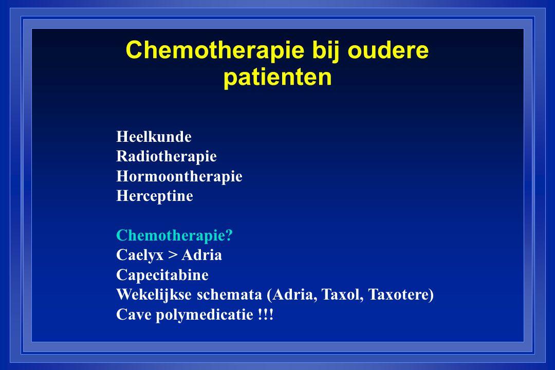 Chemotherapie bij oudere patienten Heelkunde Radiotherapie Hormoontherapie Herceptine Chemotherapie? Caelyx > Adria Capecitabine Wekelijkse schemata (