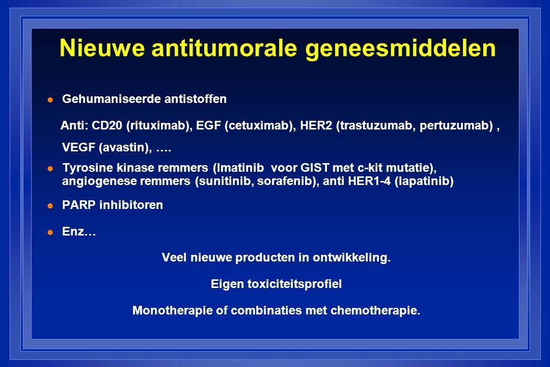 Nieuwe antitumorale geneesmiddelen l Gehumaniseerde antistoffen Anti: CD20 (rituximab), EGF (cetuximab), HER2 (trastuzumab, pertuzumab), VEGF (avastin