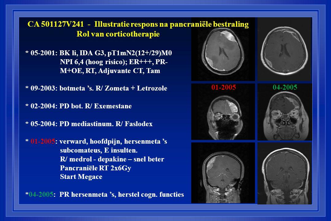 CA 501127V241 - Illustratie respons na pancraniële bestraling Rol van corticotherapie 01-200504-2005 * 05-2001: BK li, IDA G3, pT1mN2(12+/29)M0 NPI 6,4 (hoog risico); ER+++, PR- M+OE, RT, Adjuvante CT, Tam * 09-2003: botmeta 's.