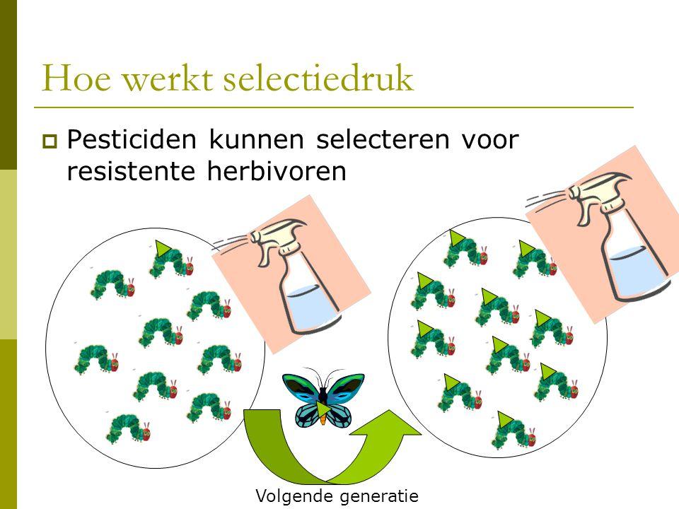 Hoe werkt selectiedruk  Pesticiden kunnen selecteren voor resistente herbivoren Volgende generatie