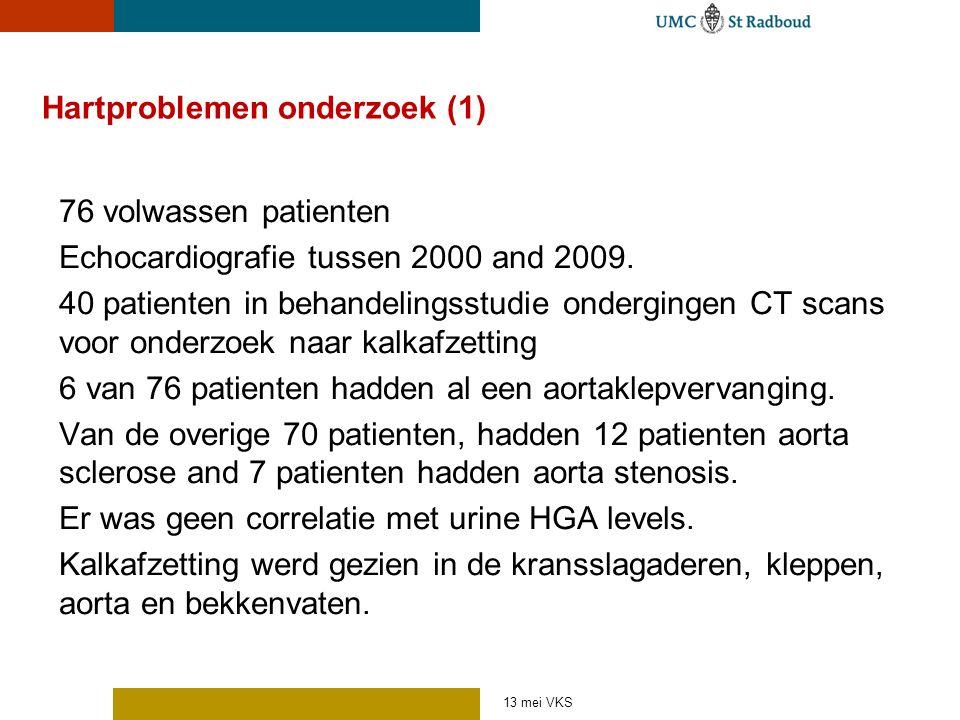 Hartproblemen onderzoek (1) 76 volwassen patienten Echocardiografie tussen 2000 and 2009. 40 patienten in behandelingsstudie ondergingen CT scans voor
