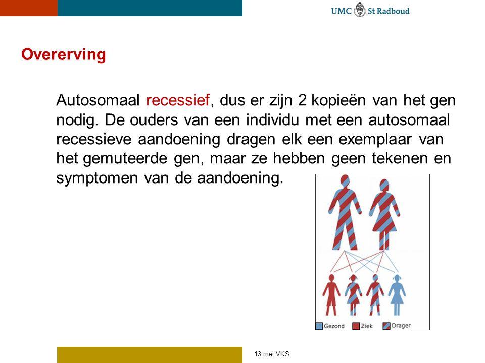 Overerving Autosomaal recessief, dus er zijn 2 kopieën van het gen nodig. De ouders van een individu met een autosomaal recessieve aandoening dragen e
