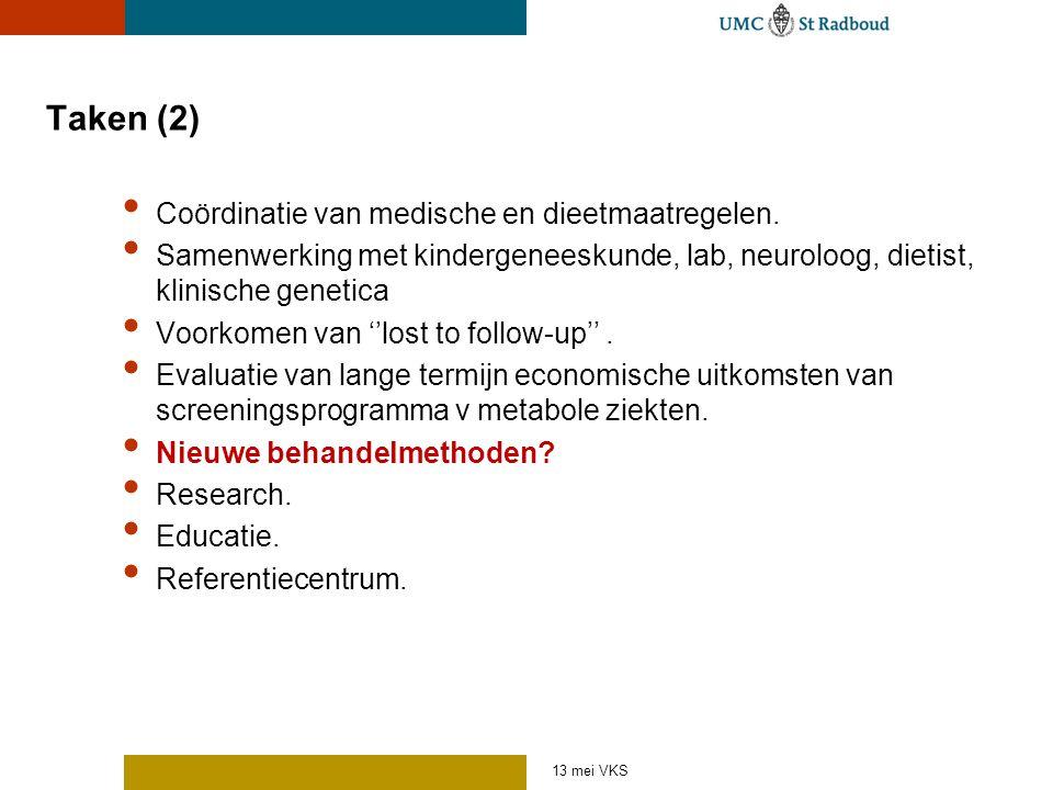 13 mei VKS Taken (2) Coördinatie van medische en dieetmaatregelen. Samenwerking met kindergeneeskunde, lab, neuroloog, dietist, klinische genetica Voo
