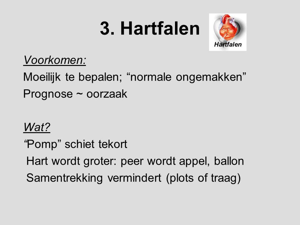 """3. Hartfalen Voorkomen: Moeilijk te bepalen; """"normale ongemakken"""" Prognose ~ oorzaak Wat? """"Pomp"""" schiet tekort Hart wordt groter: peer wordt appel, ba"""