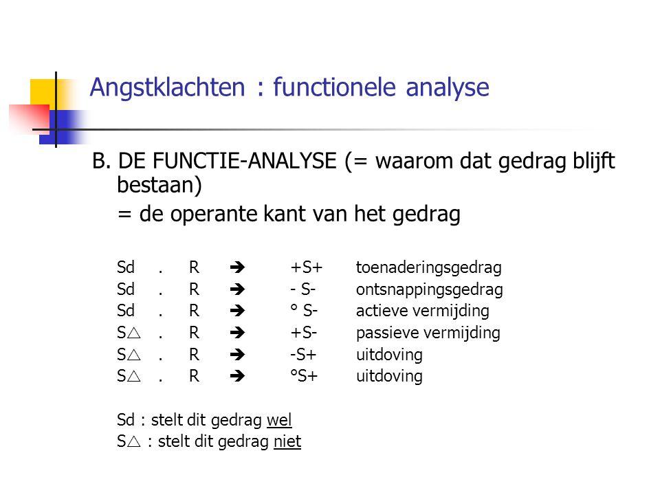 Angstklachten : functionele analyse B. DE FUNCTIE-ANALYSE (= waarom dat gedrag blijft bestaan) = de operante kant van het gedrag Sd. R  +S+toenaderin