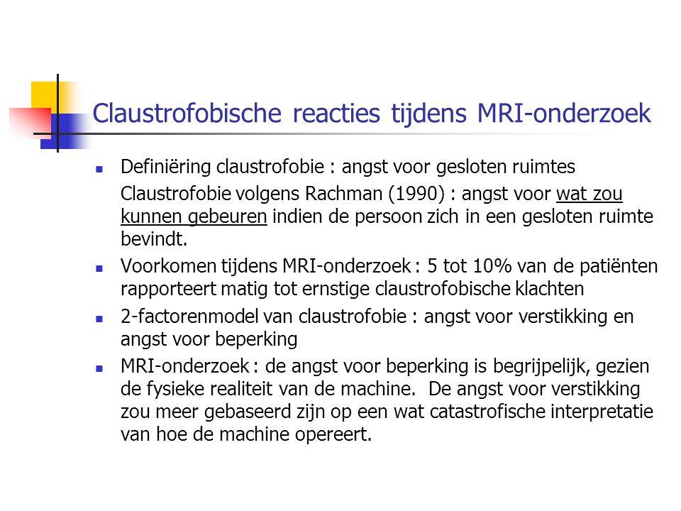 Claustrofobische reacties tijdens MRI-onderzoek Definiëring claustrofobie : angst voor gesloten ruimtes Claustrofobie volgens Rachman (1990) : angst v