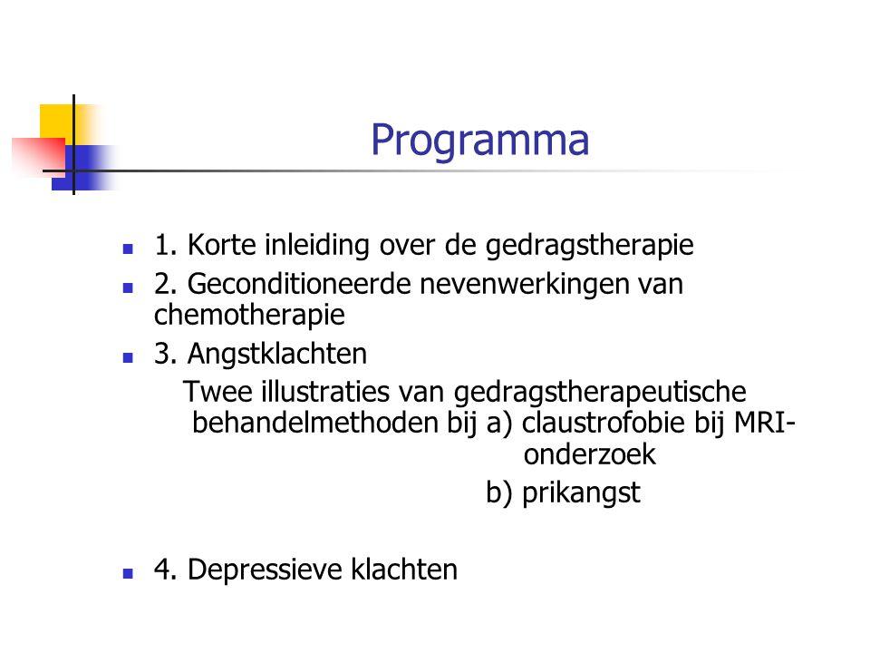 Programma 1. Korte inleiding over de gedragstherapie 2. Geconditioneerde nevenwerkingen van chemotherapie 3. Angstklachten Twee illustraties van gedra