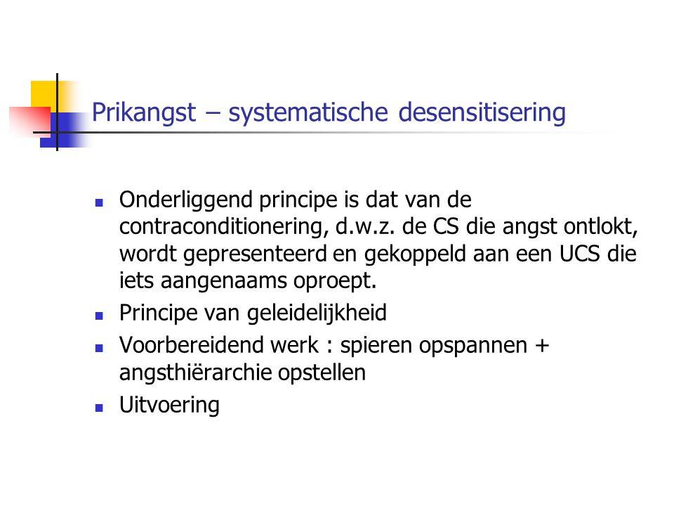 Prikangst – systematische desensitisering Onderliggend principe is dat van de contraconditionering, d.w.z. de CS die angst ontlokt, wordt gepresenteer