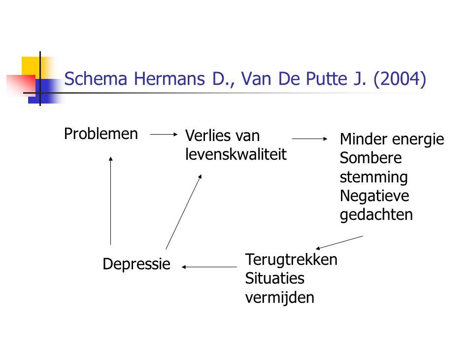 Schema Hermans D., Van De Putte J. (2004) Minder energie Sombere stemming Negatieve gedachten Problemen Verlies van levenskwaliteit Depressie Terugtre