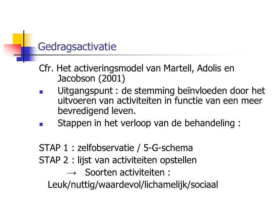 Gedragsactivatie Cfr. Het activeringsmodel van Martell, Adolis en Jacobson (2001) Uitgangspunt : de stemming beïnvloeden door het uitvoeren van activi