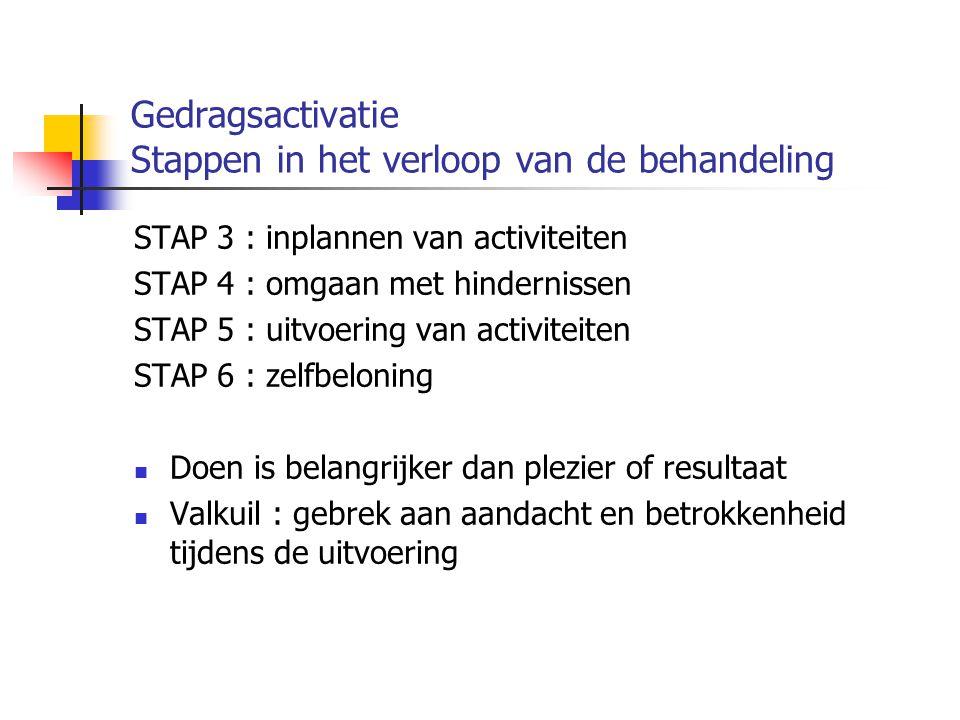Gedragsactivatie Stappen in het verloop van de behandeling STAP 3 : inplannen van activiteiten STAP 4 : omgaan met hindernissen STAP 5 : uitvoering va